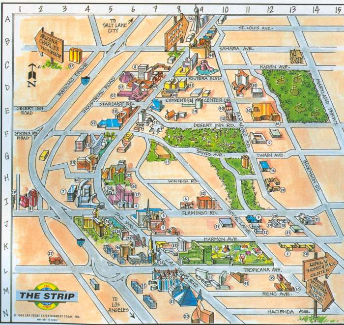 Las Vegas Strip Map  Map of Las Vegas Strip